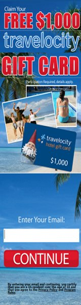 Would you like to stay for free on vacation? Get $1,000 from Travelocity and ComplimentaryGiftCards.com today! Participation required; details apply.  Open to US residents over the age of 18.